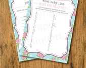 20% OFF Christmas In July INSTANT UPLOAD  Baby Shower Games Pink & Turquoise Rose - Print Your Own