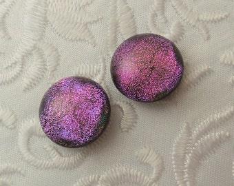 Pink Earrings - Dichroic Fused Glass Earrings - Dichroic Earrings - Bead Findings - Stud Earrings - Post Earrings 1612