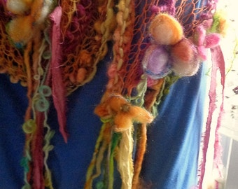 hand knit faerie flower boho art yarn spring scarf wrap -  flower fantasy wrap