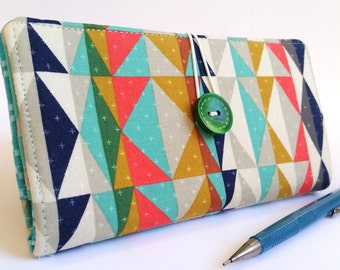 Aztec CHECKBOOK COVER in Navy Blue Mustard Yellow Aqua Salmon Modern Fabric Gift for Her Handmade Wallet - Triangles