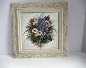Aubergine floral framed picture