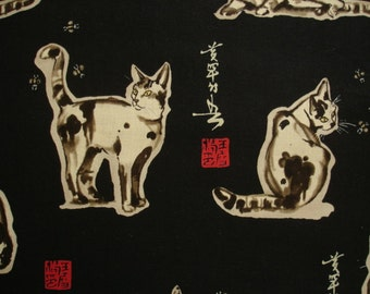 """KNITTING BAG APRON - Made to Order - Alexander Henry 1998 ultra rare """"haiku cat""""  - Please allow 3 weeks for delivery"""