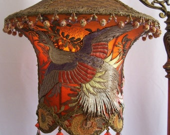Sold KW Payment 4 of 7 Grand Phoenix Exotic Bird Embroidered Lantern Antique Floor Lamp Hand Made Shade One of a Kind