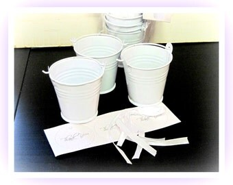 """Set of three 2-oz. Party or Shower Favor Tin Pails  with Ribbon and Tags 2"""" Tall 2"""" Diameter"""