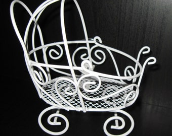 Un-decorated White Wire Mini Stroller for Baby Showers, Dollhouses or Floral Display