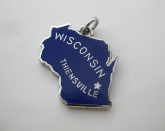Vintage Sterling Silver Wisconsin Thiensville State Blue Enamel Charm
