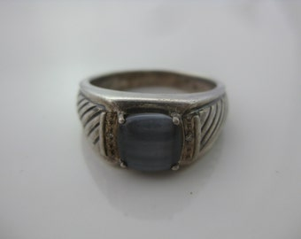 Size 10.25 Vintage Mens Sterling Silver Blue Glass Ring with 2 Small Diamond Chips