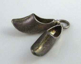 Charm, 835 Silver, Holland, Pair of Clog, Travelers Charm