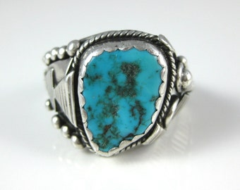 Ring, Size 11, Sterling Silver, Mens Turquoise Ring, Native American, Arrows, Swirls, Southwest Silver Ring