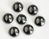 8mm - FOUR Round Gunmetal Hematite Cabochons Dark Gray Black