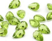 TWO 6mm x 9mm Faceted Teardrop Pear Shaped Simulated Peridot Gemstones Spring Green