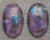 ONE 15mm x 24mm Beautiful Purple Mojave Turquoise Oval Cabochon Copper Blue Green