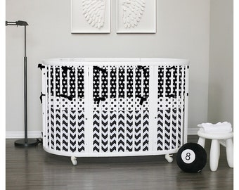 Stokke Sleepi Bedding with Italian trim - Black & White - choose your piping and ties in 32 colors