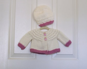 Hand Knitted -  Cream with Pink Trim Baby Sweater/Cardigan with Princess Buttons