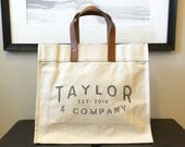 Custom Name | Canvas and Leather Tote Bag | Personalized | Graduation | Teacher | Family | Gift | New Baby | Wedding | Hostess
