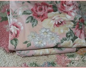 vintage barkcloth era style curtains lined  Shabby pink roses and French ribbons on blush pink fabric