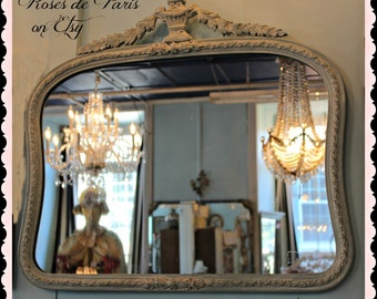 vintage French mirror  Shabby French blue   Aqua   Barbaola Roses Swags and urn