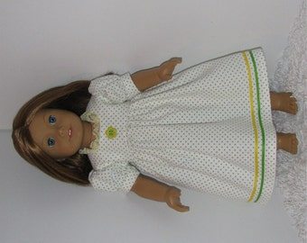Green Dotted Flannel Nightgown, Fits 18 Inch American Girl Dolls