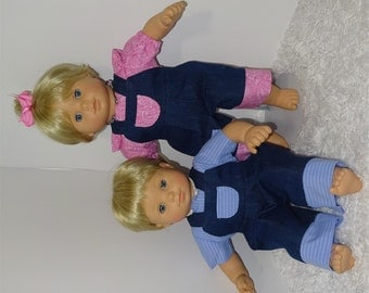 Twin Overall Sets, Fits 15 Inch American Girl Bitty Twin Dolls