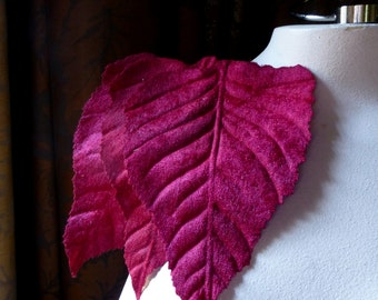 Deep Red 3 Velvet Leaves Very Large for Bridal Headpieces, Hats, Floral Supply, Crafts ML 118dr