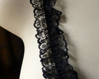REMNANT 2 yds. Black Lace on Elastic for Garments, Costumes, Garters.