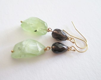 Grasshopper, cocoa and mint, prehnite earrings, smoky quartz, 14K gold filled earrings