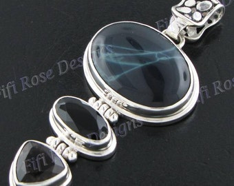 "2 1/2"" Black Jasper Onyx 925 Sterling Silver Pendant"