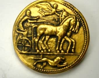 Charioteer Round COIN Pin, Roman Horse Race Stallions, Driver, Guardian Angel and Symbolic Lion or Panther Brooch