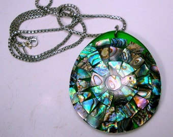 Green Abalone  Pendant on Silver Box Chain,  1980s  Irridescent Turquoise Green Paua Shell, Mosaic Seashells Set in Lucite