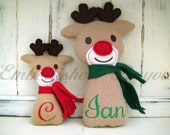 Personalized Stuffed Rudolph Reindeer Toy Soft and Plush for Baby or Dog, Small or Large