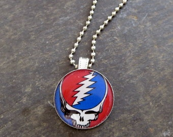 Grateful Dead Necklace, Steal Your Face Pendant, Gifts for Music Lovers, Deadhead Necklace Present, Festival Wear, Fun Skeleton Style