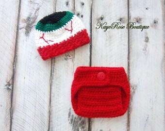 Halloween Newborn Baby Crochet Monster Eyeball Hat and Diaper Cover Set Red White Green and Black Stripes