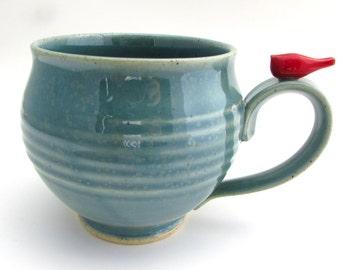Handmade Pottery Mug With a Little Red Bird