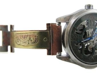 Brass Automatic Mechanical Watch, blue Dial bracelet wrist watch Steampunk metal handmade hand made auto