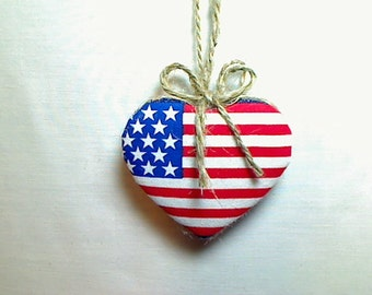 Americana Heart Ornament | Valentines Day | Spring Decor | Party favor | July 4th | Tree Ornament | Holidays | Primitive | Handmade | #4
