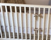 Crib Bedding Set Shades of Grey Taupe and Cream