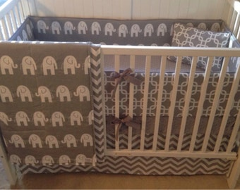 Crib Bedding Set Gray and White Elephant Made to Order