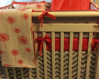 Mini Crib Bedding Set in Coral and Gray
