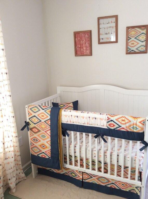 Tribal Baby Boy Crib Bedding Set Navy Gold by
