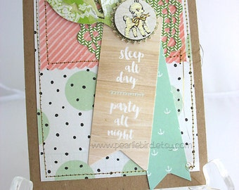 New Mother or Baby Handmade Card~little lamb~unique card~baby card~pink~coral~aqua~mint~green~baby shower gift card