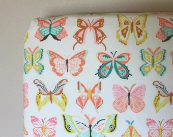 Fitted Crib Sheet or Changing Pad Cover - Butterflies