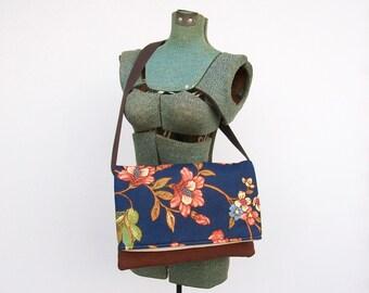 Floral Messenger Bag, Brown and Navy Blue Purse, Faux Suede Purse, Foldover Messenger Bag, Back To School Bag, Shoulder Bag, Crossbody Bag
