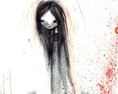 "ACEO ATC Artist Trading Card - ""Cady' - Mini Fine Art Print by Jessica von Braun - 2.5x3.5"" Little Girl - Darkling - Child - Gothic Lolita"
