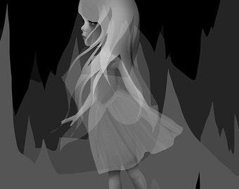 "SUMMER SALES EVENT Fine Art Print - ""Invisible"" - 11x17 or 13x19 Premium Giclee Print of Original Artwork - Little Girl -  Lowbrow Artwork"