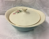 Teal and White Casserole Serving Dish with Lid
