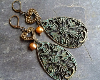 Large Green Tear Drop Earrings, Filigree earrings accented with Bronze Hearts and Fresh Water Pearls, Large Dangle Earrings