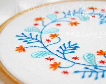 Flower Crown Reverie Sweet Romantic Embroidery Pattern - PDF