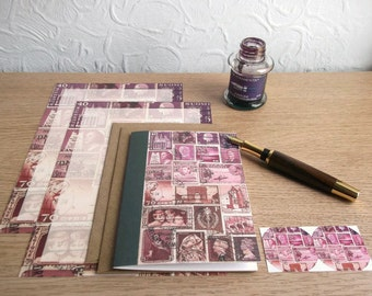 Notepaper & Notecard Set: Letter Writing Paper, Card, Envelopes, Seals | Dusk - Pink Purple Brown | Travel Art, Vintage Postage Stamp Theme
