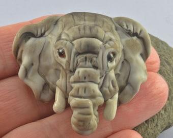 Elephant  Focal Bead Sculpture - Flameworked Glass Bead - Handmade Lampwork Glass Sculpture Bead