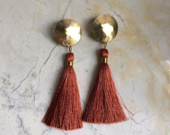 Tassel Earrings. Big Bold Earrings. Brass and Silk. Post earrings.